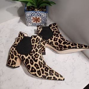 👢CHEETAH PRINT LEATHER ANKLE BOOST
